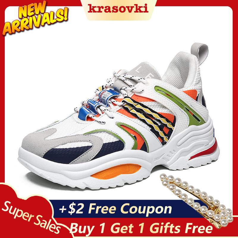 Krasovki Sneaker Women Fashion Shoes Dropshipping Thick Bottom Causal Sneakers Breathable Mesh Muffin