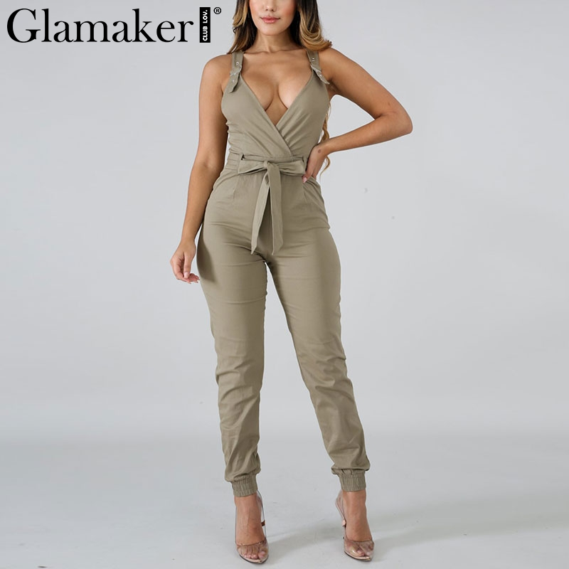Glamaker Cotton overalls for women   jumpsuit   romper Breathable khaki   jumpsuit   summer 2019 Chic strap belt long   jumpsuit   female