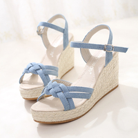 Summer New Style Summer Small Fresh Cattle Carefully With Hemp Wedges Waterproof Platform Shoes Straw Sandals