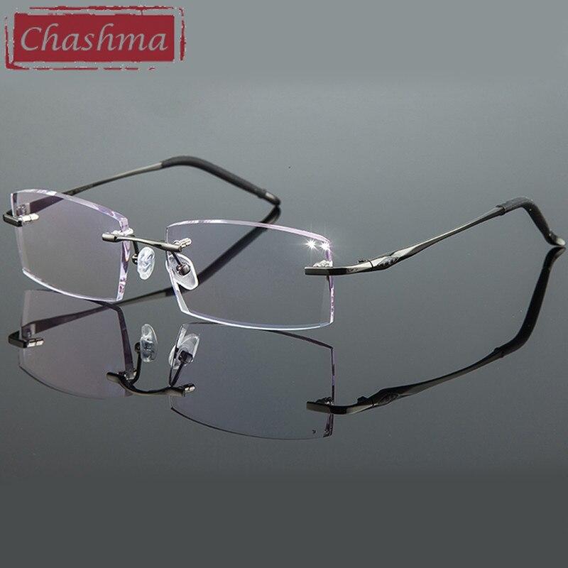 Chashma Titanium Fashion Male Eye Glasses Diamond Trimmed Rimless Spectacle Frames Female Eyeglass Frame Colored Lenses