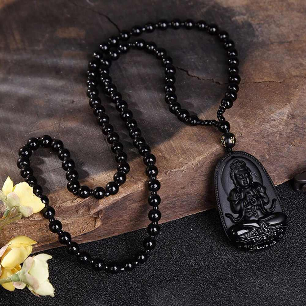 ธรรมชาติสีดำ Obsidian หินแกะสลักพระพุทธรูป Lucky Amulet จี้สร้อยคอสำหรับหญิงชาย Handmade1pc