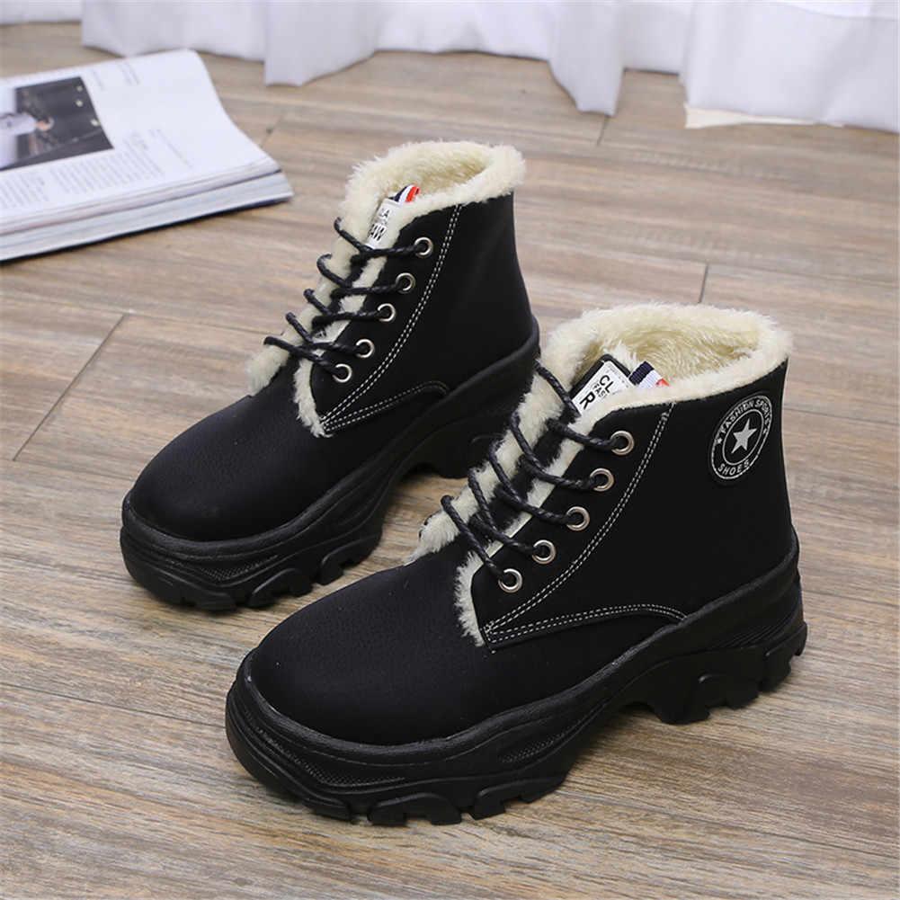 KARINLUNA 2019 Yeni Kar Botları Katı Yuvarlak Ayak Lace Up kaymaz platform ayakkabılar Kadın Rahat Kış sıcak Kürk yarım çizmeler siyah