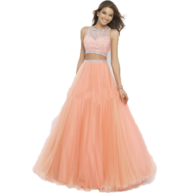 2 Piece Prom Dresses 2015 A Line Scalloped Short Sleeves Beading
