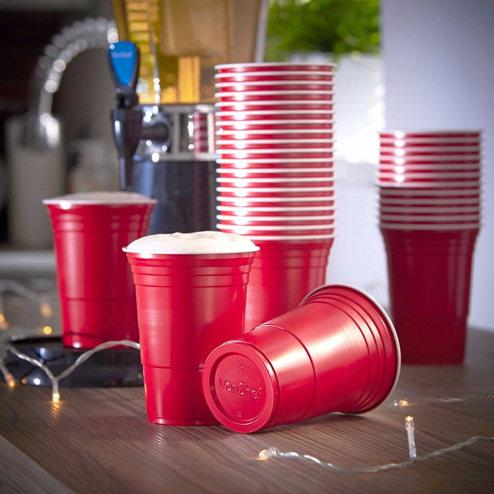Event Supplies Red Party Cup Plastic Cold Drinks BEER PONG 16 Oz Capacity Drinking Cups Washable Perfect Funny Beer Pong Games Стол