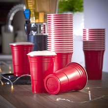 Event Supplies Red Party Cup Plastic Cold Drinks BEER PONG 16 Oz Capacity Drinking Cups Washable Perfect Funny Beer Pong Games