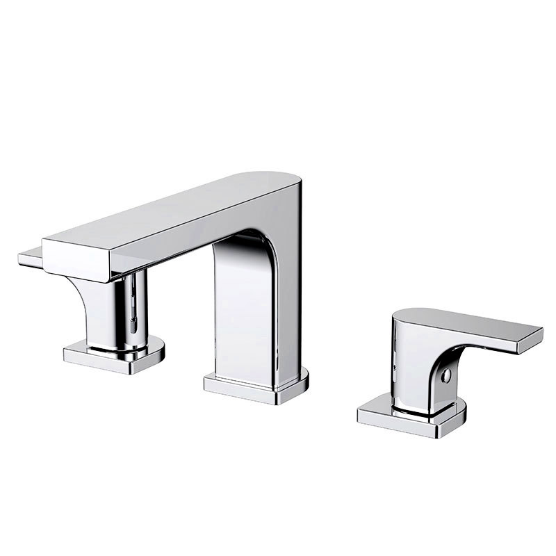 Deck Mounted Widespread Bathroom Basin Faucet Chrome Plated Brass Dual Handle Three Holes Water Mixer Tap