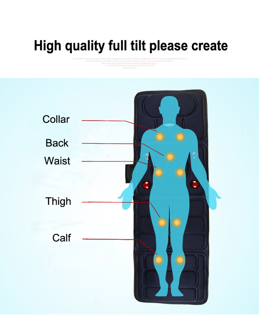 KLASVSA Electric Vibrator Massager Mattress Far-Infrared Heating Therapy Neck Back Massage Relaxation Bed Vibrador Health Care 7
