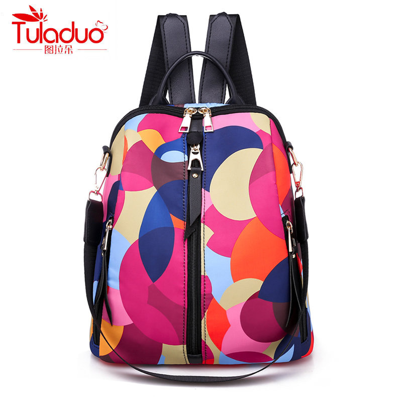 Fashion Colorful Circle Women Backpacks High Qulity Oxford Women Backpack Brand Large Capacity Multi-pocket Women Backpacks 2019