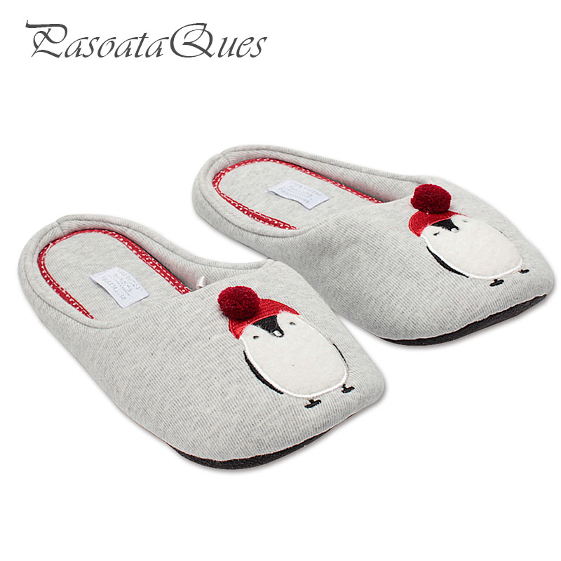 Cotton Cute Penguin Animal Pattern Home Slippers Women Indoor Shoes For Bedroom House Adult Guest Warm Winter Soft Bottom Flats cute sheep animal cartoon women winter home slippers for indoor bedroom house warm cotton shoes adult plush flats christmas gift