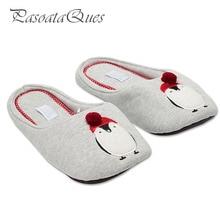 Baumwolle Niedlichen Pinguin Tier Muster Hause Hausschuhe Frauen Indoor Schuhe Für Schlafzimmer Haus Erwachsene Gast Warme Winter Weichen Boden Wohnungen