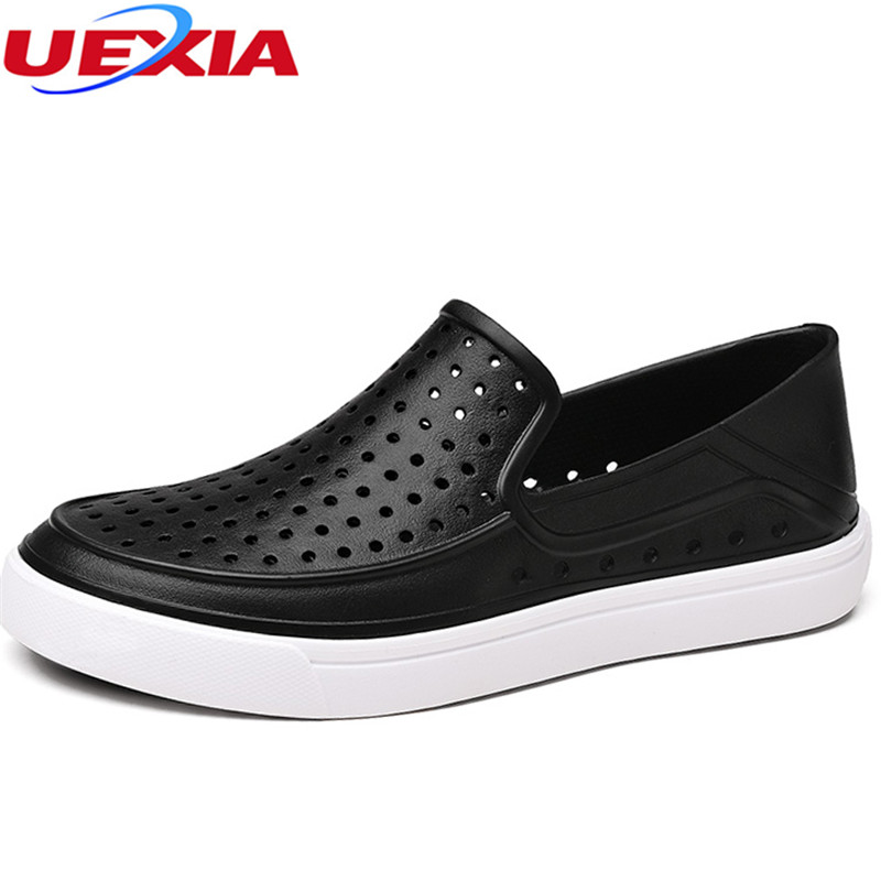 UEXIA Summer Sandals Men Outdoor Breathable Hollow EVA Shoes Men Beach Casual Sandalias Slip On Flip-Flops Lightweight Zapatos suihyung design new women and men summer flat shoes hit color breathable hollow beach slippers flips non slip unisex sandals