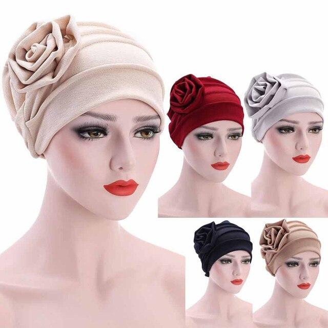 ייחודי עיצוב פרח שיער אובדן ראש צעיף לעטוף נשים של כובע מוסלמי למתוח טורבן כובע מצנפת femme גרב מצנפת femme