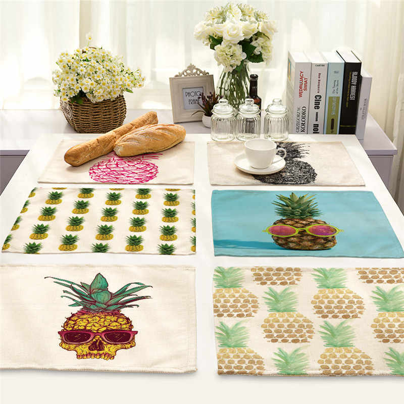 1 шт., кухонный столовый коврик с рисунком ананаса, Настольный коврик, подставка под кружку, хлопок, лен, салфетка, чашки, коврики 42*32 см, домашний декор PM0003