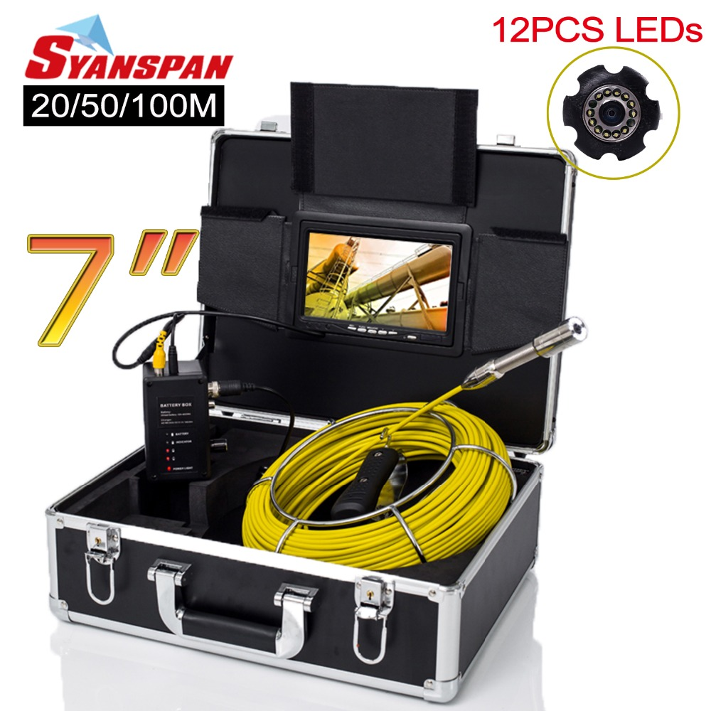SYANSPAN 7 Monitor 20/50/100M Pipe Inspection Video Camera,IP68 HD 1000TVL Drain Sewer Pipeline Industrial Endoscope System free