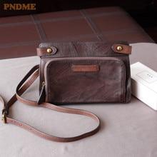 купить PNDME retro genuine leather ladies messenger bag First layer cowhide shoulder bag fashion women's weekend bag envelope bag по цене 3225.33 рублей