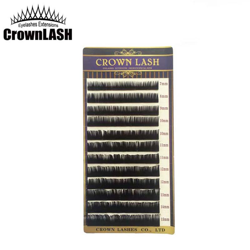 CrownLASH Black Mixed Size Tray super kudrnatý 0.10, 0.15, 0.20, 0.25 7-15mm C a D Curl
