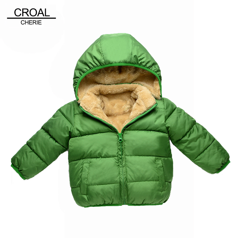 80-110cm Thick Velvet Kids Girls Boys Winter Coat Warm Children's Winter Jackets Cotton Infant Clothing Padded Jacket Clothes