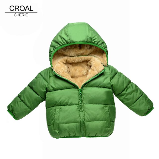 80-110 cm de espesor de terciopelo niños niñas niños abrigo de invierno cálido niños infant clothing chaquetas de invierno de algodón acolchado chaqueta de la ropa