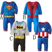 Newborn Baby Boy Clothes Summer New Born Baby Clothing Cute Cartoon Spiderman Superman Baby Romper Boy