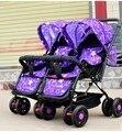 Dobrado carrinho de bebê gêmeo carrinho duplo carrinho de criança carrinho de criança pode sentar mentira dormir plana