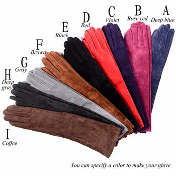 Damskie damskie prawdziwa skóra zamszowa party długie wieczorowe rękawiczki dostosowane rękawiczki dziesięć kolorów tanie i dobre opinie FINILUO Kobiety Genuine Leather Dla dorosłych Stałe Elbow Moda 40140408
