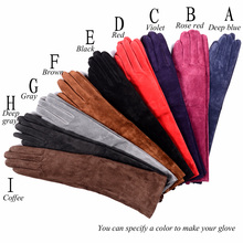 Womens Ladies Real Suede leather Party Long Evening Gloves Opera/Long Gloves Ten Colors