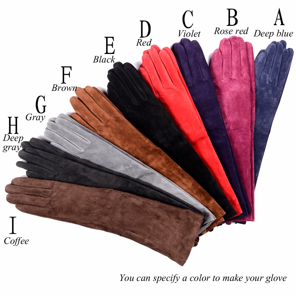 Women's Ladies Real Suede Leather Party Long Evening Gloves Customized Gloves Ten Colors