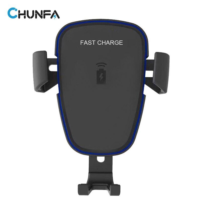 CHUNFA LED Qi Wireless Car Charger for Samsung S9 S9 Plus Car Phone Holder Fast Charger for Samsung S8 S8 Plus Wireless Charging