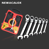 NEWACALOX 7 Pcs Lot Professional Tools Flexible Double Head Ratchet Wrench Combination Spanner Set Universal Wrench