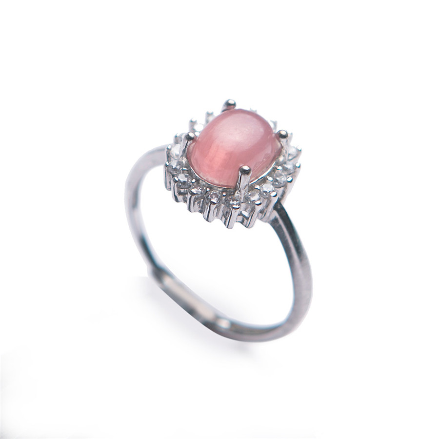 Genuine Natural Adjustable Rhodochrosite Crystal Ring Trendy 925 Sterling Silver Crystal Women Ring Adjustable Size Ring trendy faux crystal embellished cuff ring for women