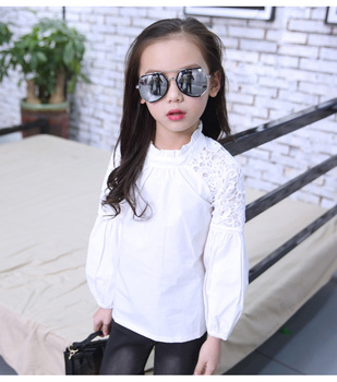 2019 New Full Sleeve White Girls Shirts for School O-neck Girl Blouses Solid Tops Teenager Kids Children Clothing Clothes Bs078 spring fall teenager long sleeve shirts fashion 2019 kids girls plaid blouses cotton lace tops for baby girl children clothing