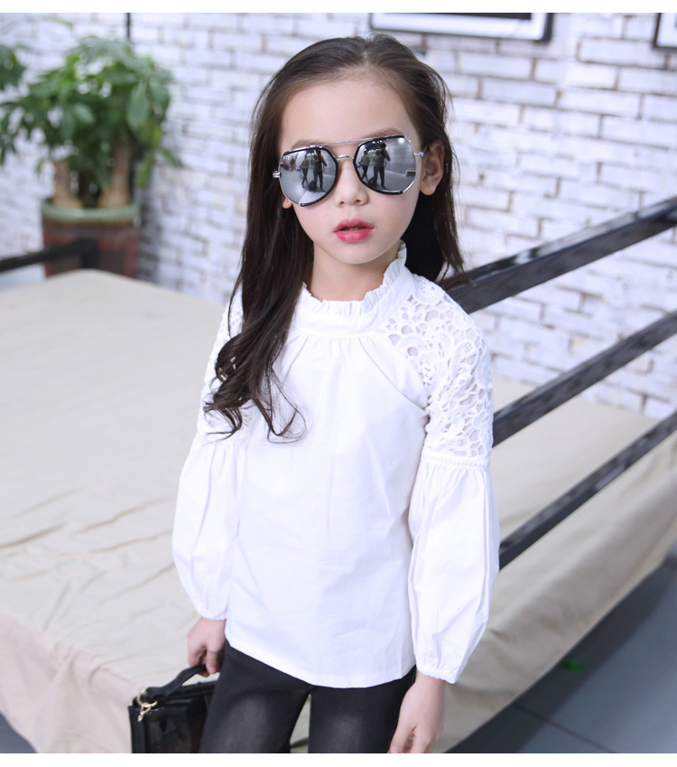 2019 New Full Sleeve White Girls   Shirts   for School O-neck Girl   Blouses   Solid Tops Teenager Kids Children Clothing Clothes Bs078