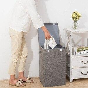 Image 3 - Seau à linge étanche pliable pour le stockage de vêtements sales, bac à linge à usage domestique, panier à linge dangle pliable avec couvercle