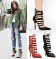 Roman sandals Women Pumps Gladiator high heels Booties Ladies Sexy Hollow Cross Lace Up Nightclubs High Heels Shoes woman