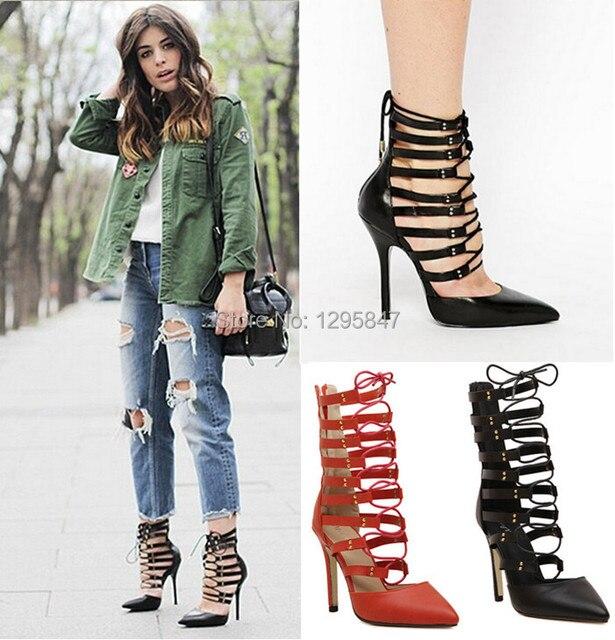 Roman sandals Women Pumps Gladiator high heels Booties Ladies Sexy Hollow Cross Lace Up Nightclubs High Heels Shoes woman