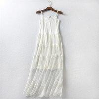 2018 winter woman dresses cotton slips solid camisole women full 100% ladies long dress lingerie satin slips white sleeveless