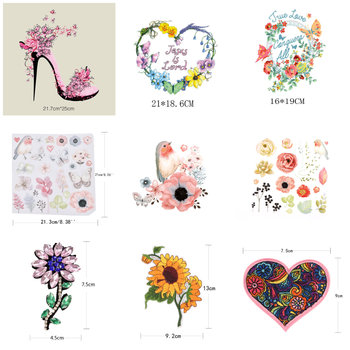 1 x DIY Flower Patch T-shirt Clothing A-level Rhinestone Motif on Crystal Patch High-heel Heart Butterfly Embroidery Applique image