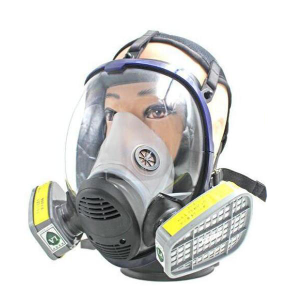 Full Face Gas Mask Chemical Respirator with No.7 Cartridges Against Acid Gas/Vapors/Hydrogen sulfide/Organic pesticides KR004 1pcs gas mask goggles chemical gas respirator face masks filter chemical gas protected face mask with goggles