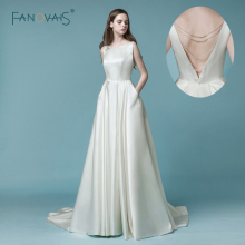 Billiga Enkla Bröllopsklänningar 2018 Öppna Back Beaded Brudklänning Långt med Fodral Elfenben Bröllopsklänning Satin Vestido de Novia NW5