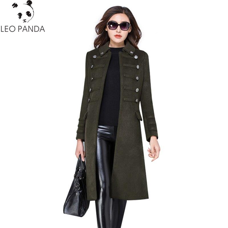 Winter Women New Turn Down Collar Slim Wool Coat Autumn Fashion Mid long High Quality Double