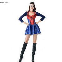 Sexy Women Halloween Spiderman Costumes Female The Avengers Spider man Cosplays Carnival Purim Nightclub Party masked ball dress