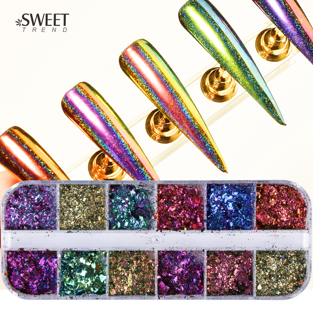 1Set Mixed Irregular Nail Glitter Powder Chameleon Effect Nail Sequins Flakies Colorful Manicure Nail Powder Craft Decor LAQC mixed color chameleon stone nail rhinestone small irregular beads manicure 3d nail art decoration in wheel accessories