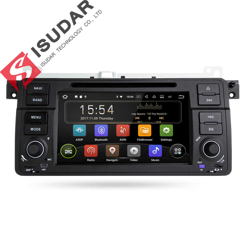 Isudar Штатная Автомагнитола мультимедиа навигация автомобильный навигатор 1 Din на android 8.1 1 с Сенсорным 7 Дюймовым Экраном для автомобилей BMW/E46/...