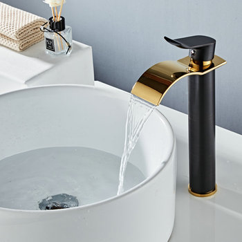 Basin Faucet Black and Gold Brass Faucet Hot & Cold Sink Faucet Waterfall Mixer Taps Bathroom Faucet Lavatory Mixer