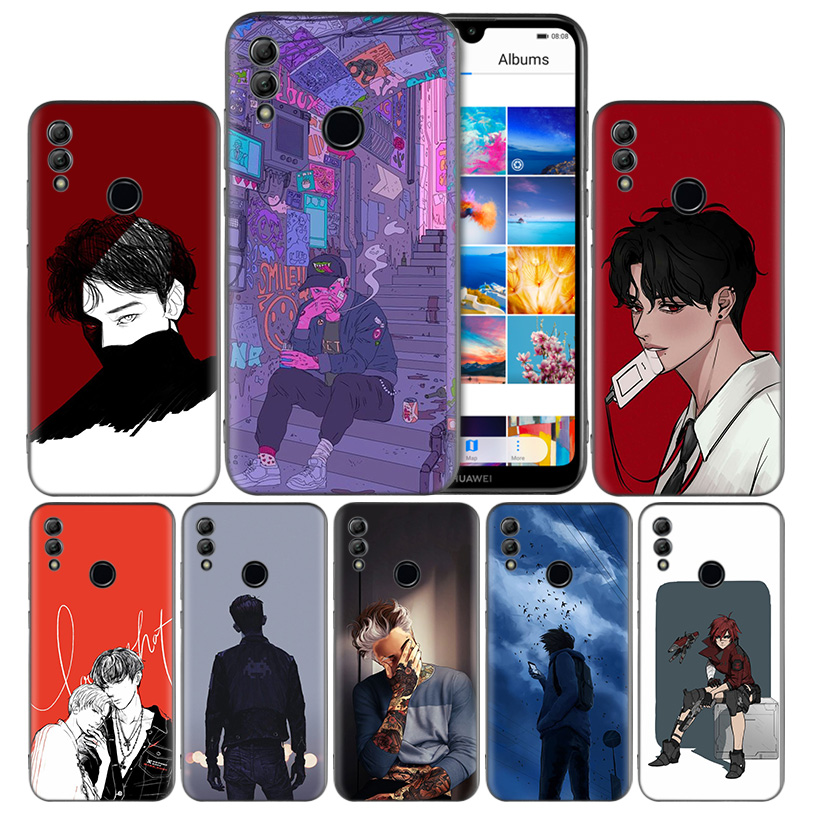 Anime Boys Black Silicone Case Cover for <font><b>Huawei</b></font> <font><b>Honor</b></font> <font><b>8X</b></font> 8C 8A 8S 10 10i Lite Play V20 Y9 Y7 Y6 Y5 Prime 2018 2019 Back Housing image