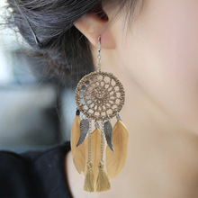 European and American retro national style luxury hand-woven mesh feather earrings, pendants, fashion earrings