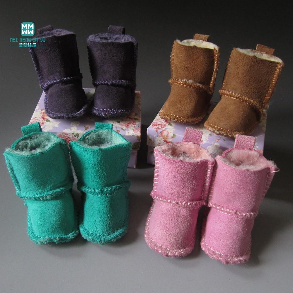 Botas de piel de oveja de 7 cm Zapatos para muñecas 1/4 BJD Muñeca para muñecas Regalo de Navidad para niños (No cartones)