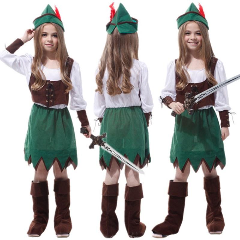 Free Shipping Robin Hood Peter Pan Kids Pirate Costume Carnival Halloween Masquerade Children Girls Fancy Dress Cosplay Clothes