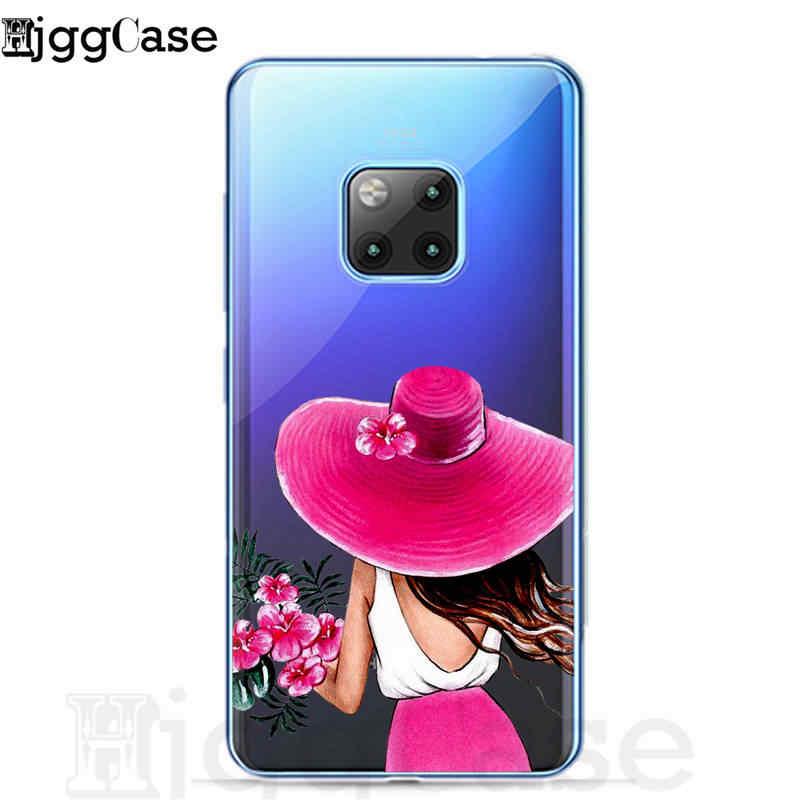 الأزياء سفر خريطة فتاة لينة الهاتف حافظة لهاتف Huawei P20 لايت زميله 10 20 لايت برو لهواوي الشرف 8X 8c 9 10 لايت Y9 2019 غطاء