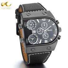 Lancardo Mens Montre Mode Casual 3 Fuseau horaire Montres Hommes Montre-Bracelet Bracelet En Cuir Quartz Sport Montre-bracelet des Hommes Horloge mâle